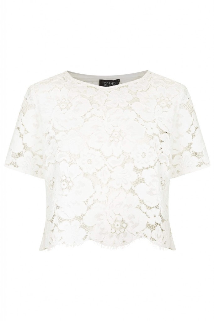 Scallop lace crop tee, 46 EUR, topshop.