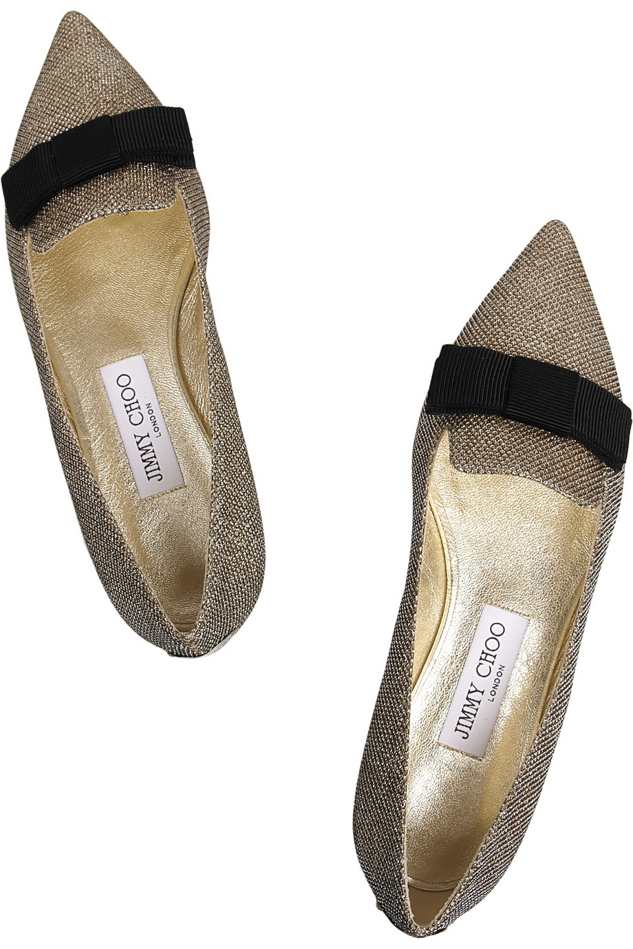 Jimmy Choo Gold-gala-gold lame point toe flats